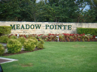 Meadow Pointe subdivision entrance monument.