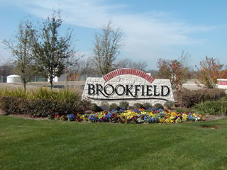Brookfield subdivision entrance monument.