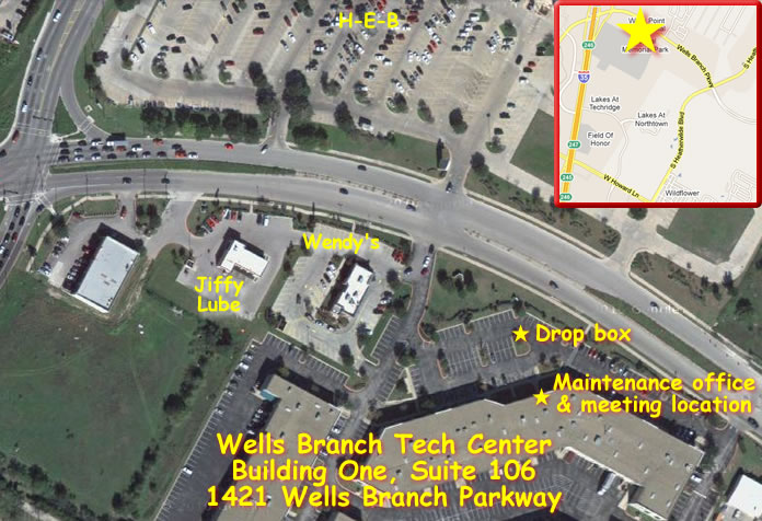 New meeting place and dropbox location at 1421 Wells Branch Parkway.