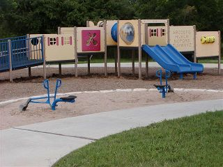 Playground equipment in a District park.