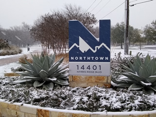 The monument at the entrance to the Northtown Park subdivision (the earliest Northtown neighborhood).